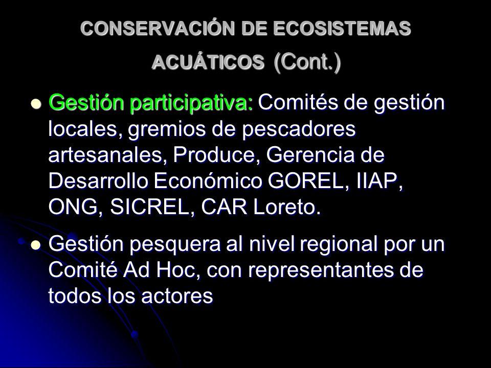CONSERVACIÓN DE ECOSISTEMAS ACUÁTICOS (Cont.) Gestión participativa: Comités de gestión locales, gremios de pescadores artesanales, Produce, Gerencia