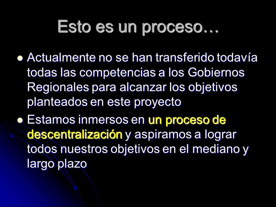 Esto es un proceso… Actualmente no se han transferido todavía todas las competencias a los Gobiernos Regionales para alcanzar los objetivos planteados