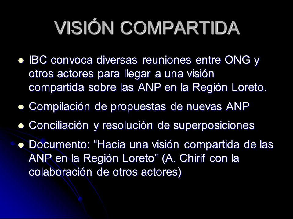 VISIÓN COMPARTIDA IBC convoca diversas reuniones entre ONG y otros actores para llegar a una visión compartida sobre las ANP en la Región Loreto. IBC