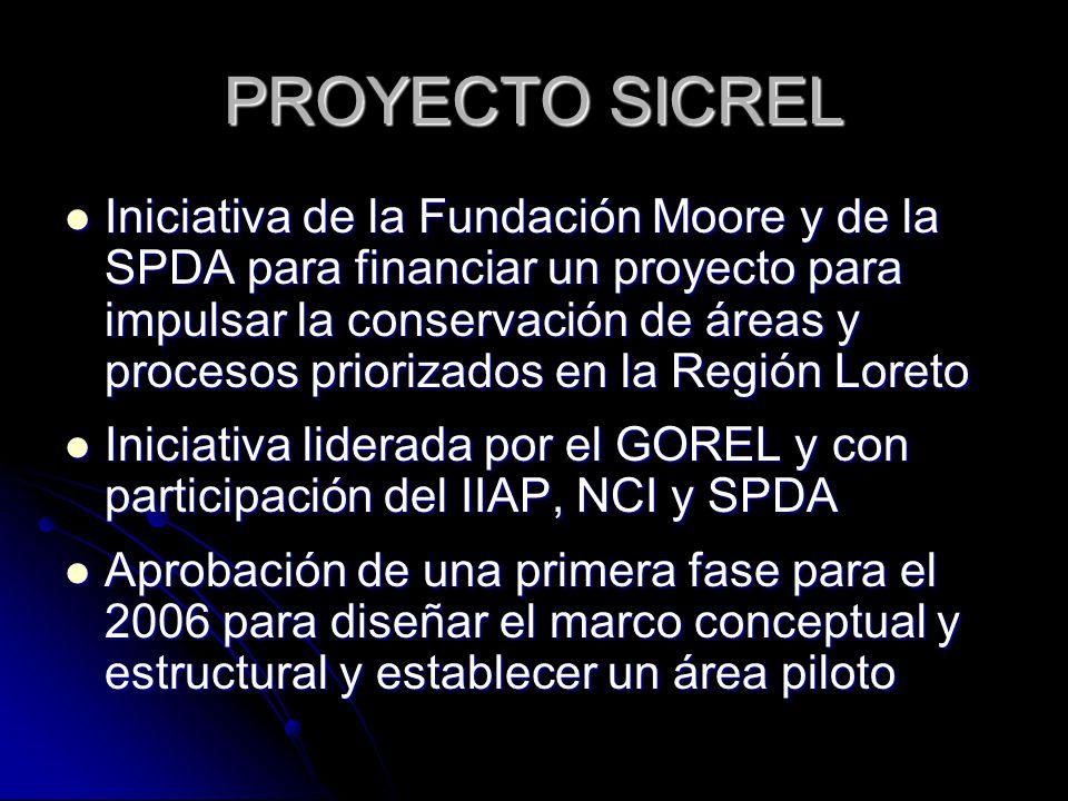 PROYECTO SICREL Iniciativa de la Fundación Moore y de la SPDA para financiar un proyecto para impulsar la conservación de áreas y procesos priorizados