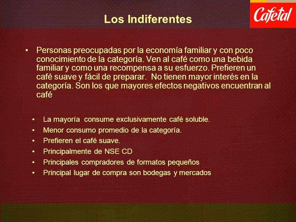 Los Indiferentes Personas preocupadas por la economía familiar y con poco conocimiento de la categoría. Ven al café como una bebida familiar y como un