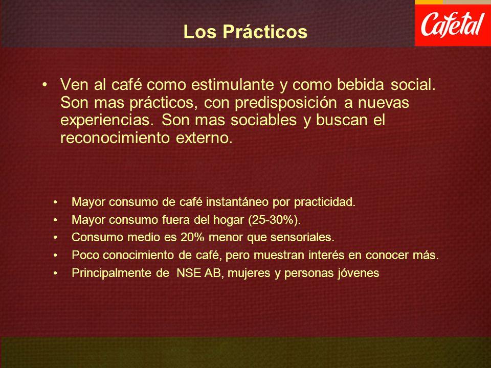 Los Prácticos Ven al café como estimulante y como bebida social. Son mas prácticos, con predisposición a nuevas experiencias. Son mas sociables y busc