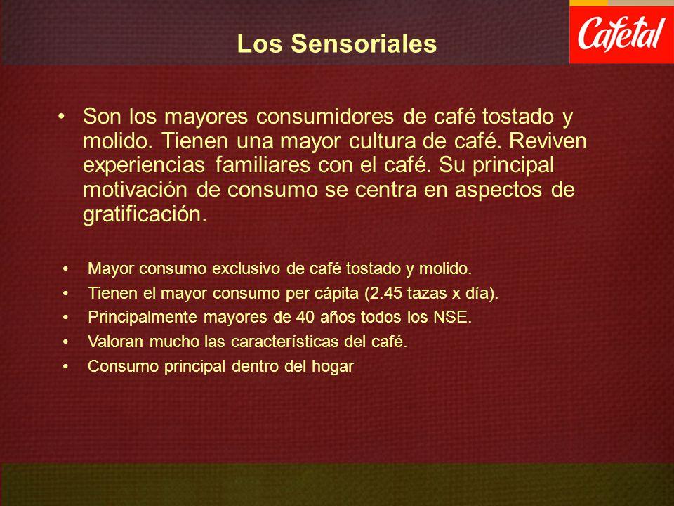 Los Sensoriales Son los mayores consumidores de café tostado y molido. Tienen una mayor cultura de café. Reviven experiencias familiares con el café.