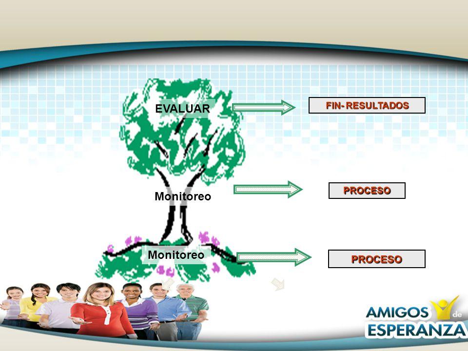 PROCESO FIN- RESULTADOS PROCESO Monitoreo EVALUAR Monitoreo