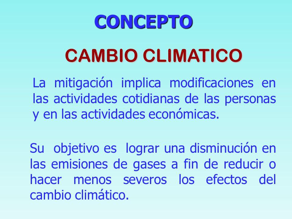 CONCEPTO CONCEPTO CAMBIO CLIMATICO Se refiere a cualquier cambio del clima a lo largo del tiempo, ya sea debido a la variabilidad natural o como conse