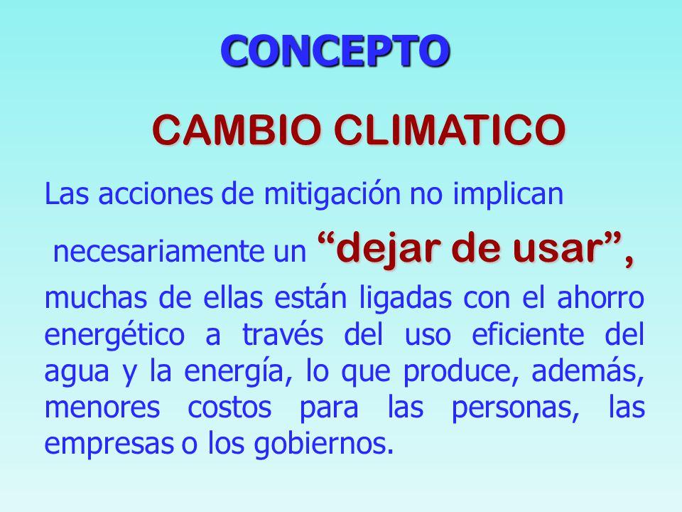 CONCEPTO CONCEPTO La mitigación implica modificaciones en las actividades cotidianas de las personas y en las actividades económicas. Su objetivo es l