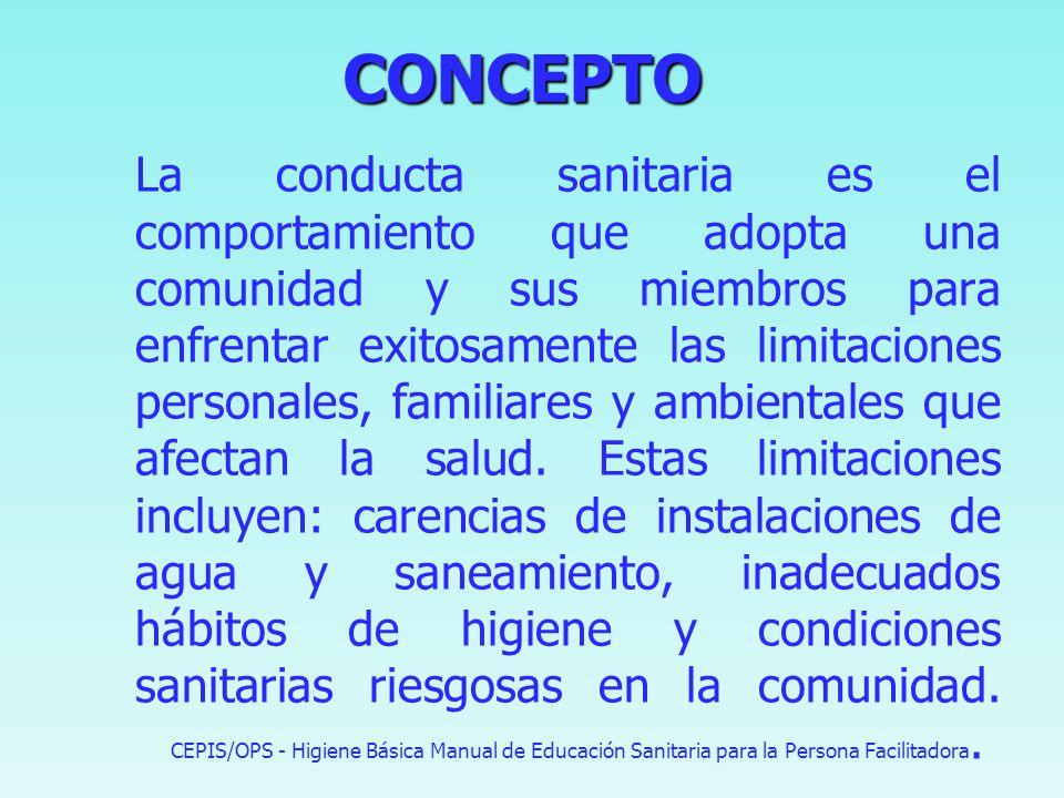 CONCEPTO CONCEPTO Proceso de formación e información orientado a promover hábitos y comportamientos saludables en cuanto a higiene, uso de los servici