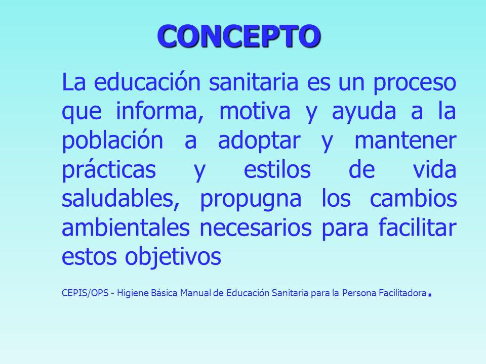 CONCEPTO CONCEPTO La conducta sanitaria también incluye la capacidad para desarrollar y administrar un ambiente sano sostenible. CEPIS/OPS - Higiene B