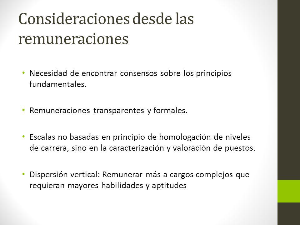Consideraciones desde las remuneraciones Necesidad de encontrar consensos sobre los principios fundamentales.