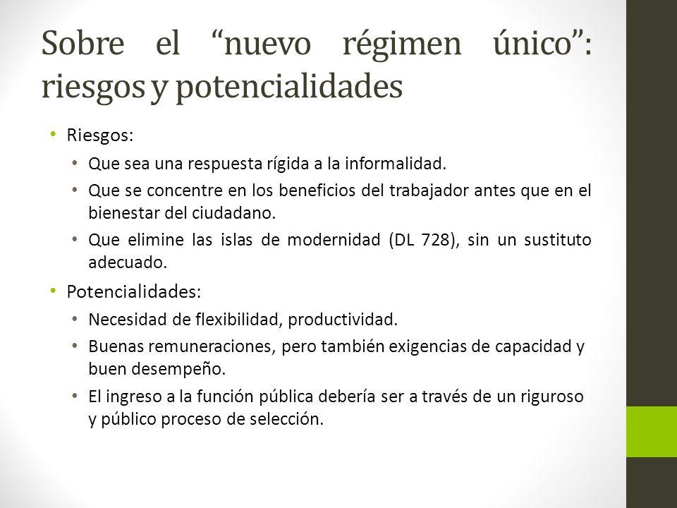 Sobre el nuevo régimen único: riesgos y potencialidades Riesgos: Que sea una respuesta rígida a la informalidad.