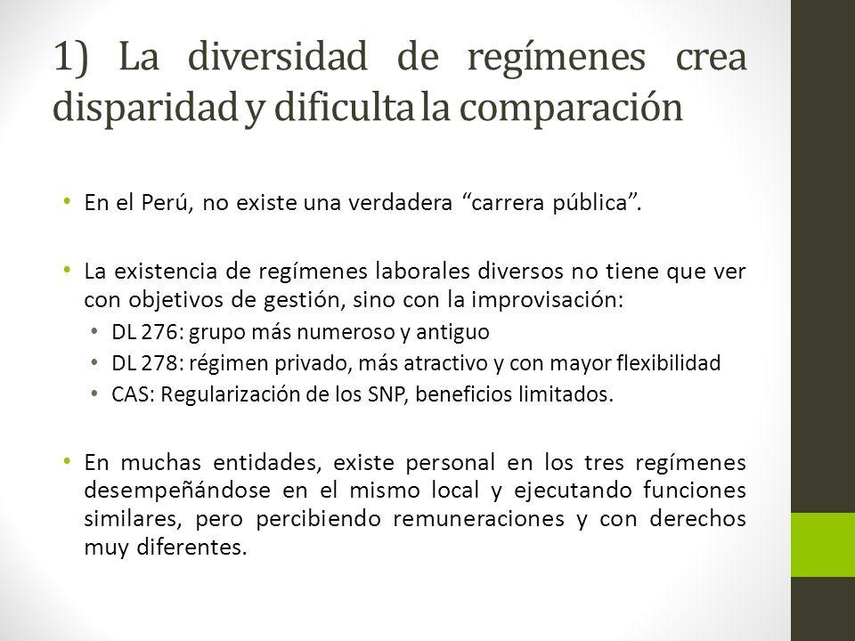 1) La diversidad de regímenes crea disparidad y dificulta la comparación En el Perú, no existe una verdadera carrera pública.