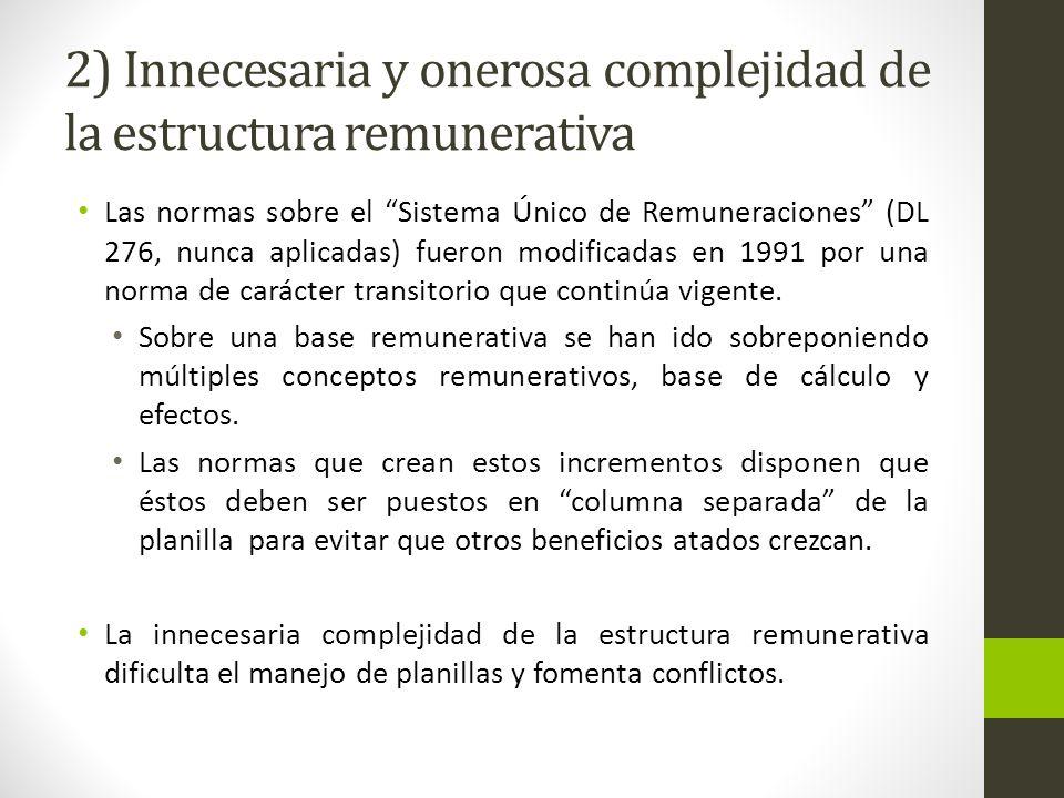 2) Innecesaria y onerosa complejidad de la estructura remunerativa Las normas sobre el Sistema Único de Remuneraciones (DL 276, nunca aplicadas) fueron modificadas en 1991 por una norma de carácter transitorio que continúa vigente.
