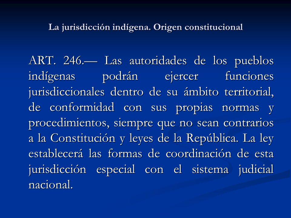 La jurisdicción indígena. Origen constitucional ART. 246. Las autoridades de los pueblos indígenas podrán ejercer funciones jurisdiccionales dentro de