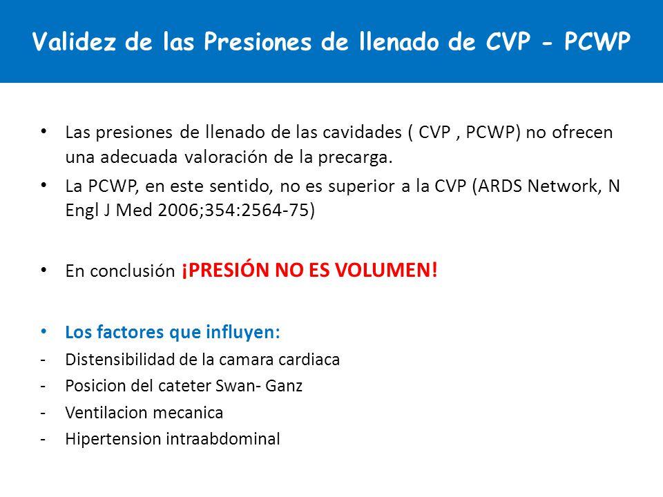 Las presiones de llenado de las cavidades ( CVP, PCWP) no ofrecen una adecuada valoración de la precarga. La PCWP, en este sentido, no es superior a l
