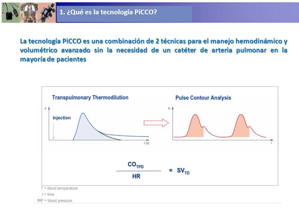1. ¿Qué es la tecnología PiCCO? La tecnología PiCCO es una combinación de 2 técnicas para el manejo hemodinámico y volumétrico avanzado sin la necesid