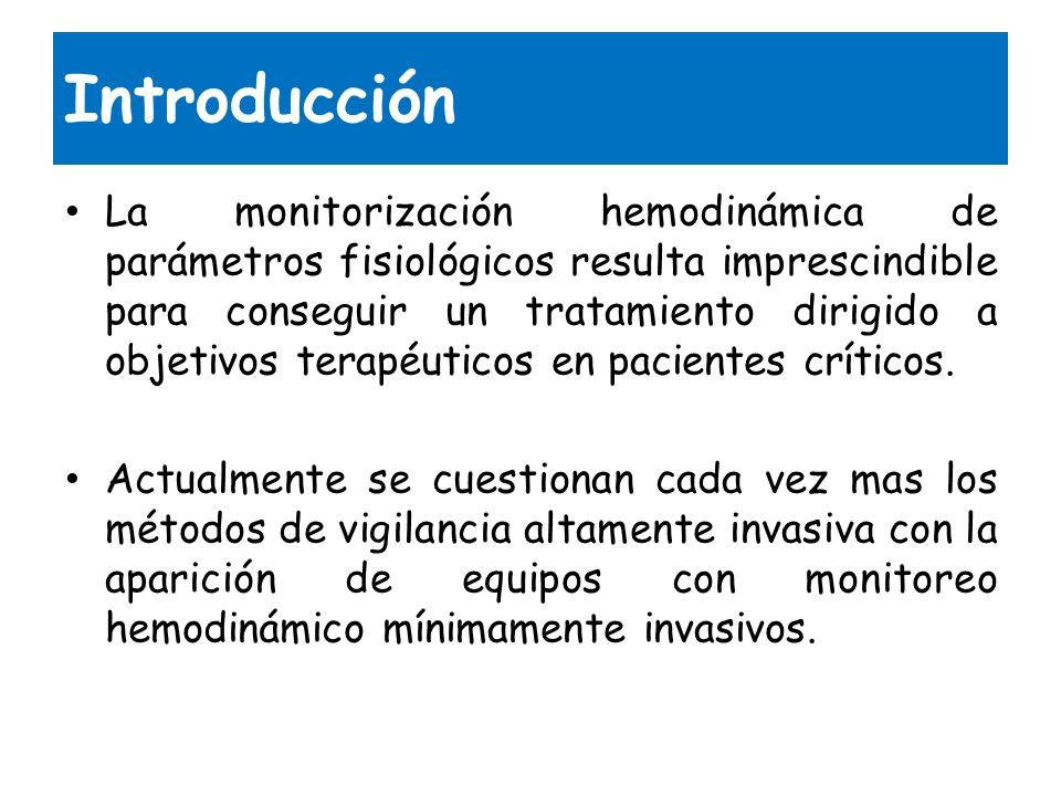 Introducción La monitorización hemodinámica de parámetros fisiológicos resulta imprescindible para conseguir un tratamiento dirigido a objetivos terap