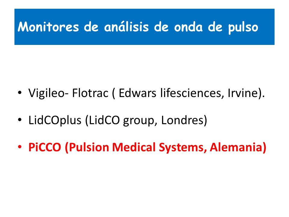 Monitores de análisis de onda de pulso Vigileo- Flotrac ( Edwars lifesciences, Irvine). LidCOplus (LidCO group, Londres) PiCCO (Pulsion Medical System
