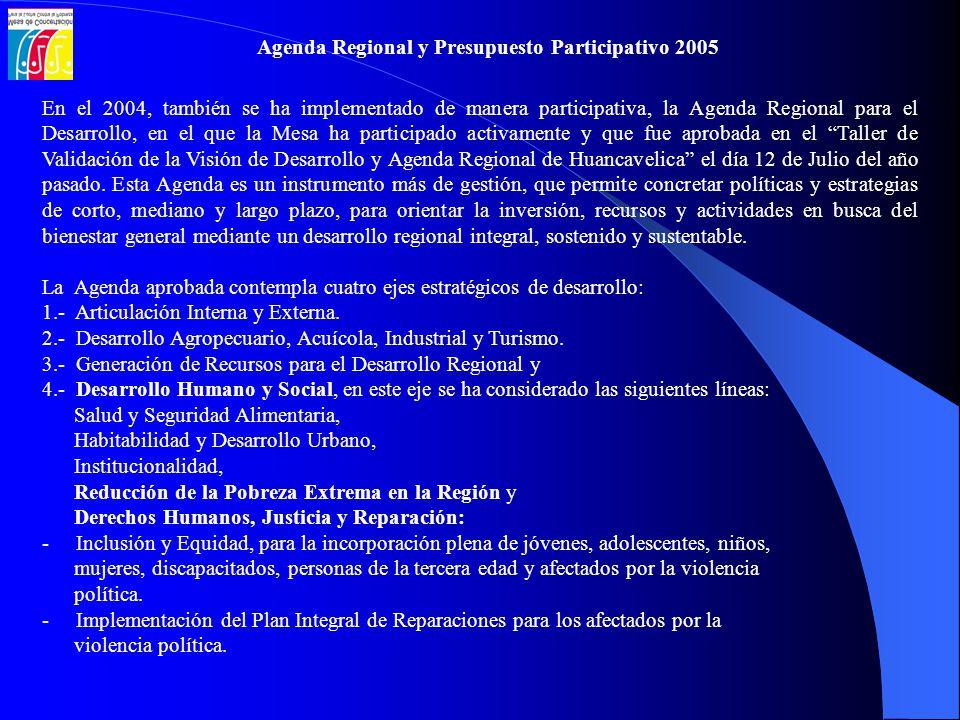 En el 2004, también se ha implementado de manera participativa, la Agenda Regional para el Desarrollo, en el que la Mesa ha participado activamente y