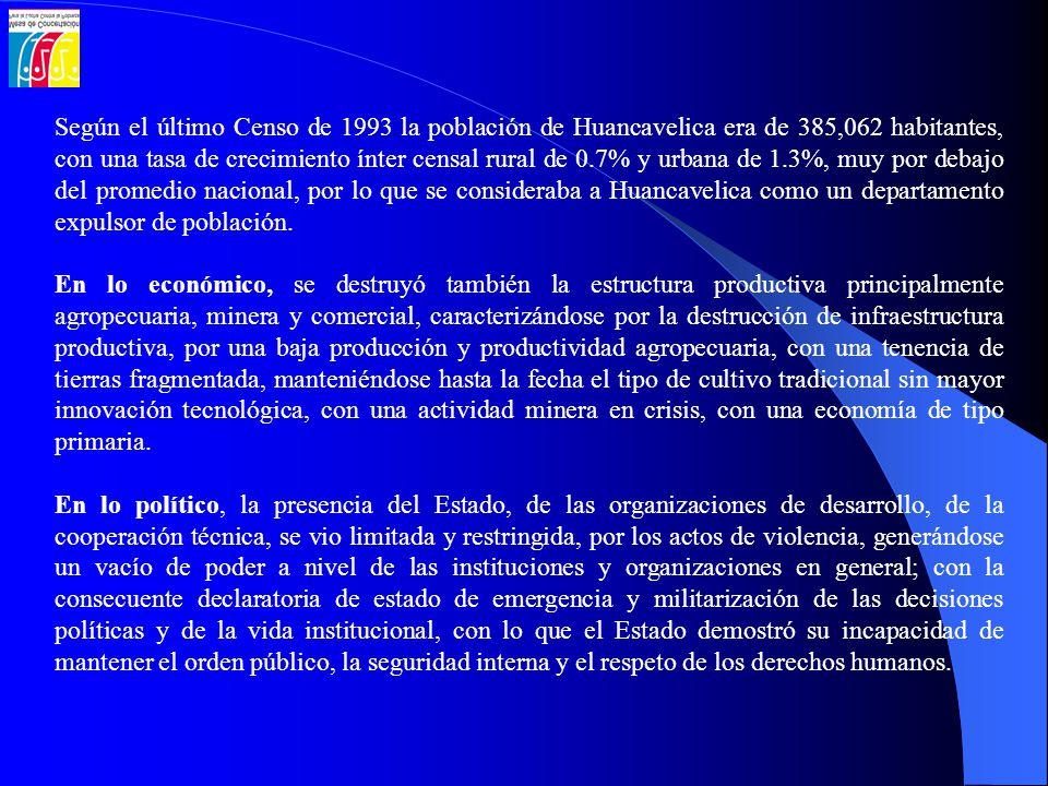 Según el último Censo de 1993 la población de Huancavelica era de 385,062 habitantes, con una tasa de crecimiento ínter censal rural de 0.7% y urbana
