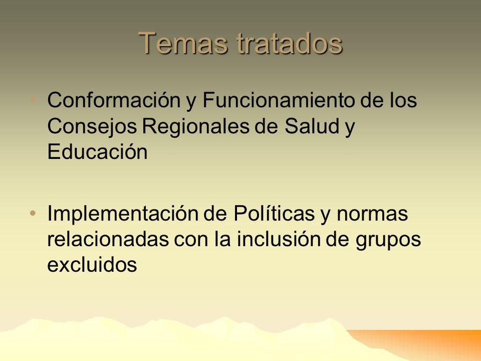 Temas tratados Transparencia y acceso a la Información Apertura de canales y mecanismos de Participación El presupuesto Regional y su ejecución