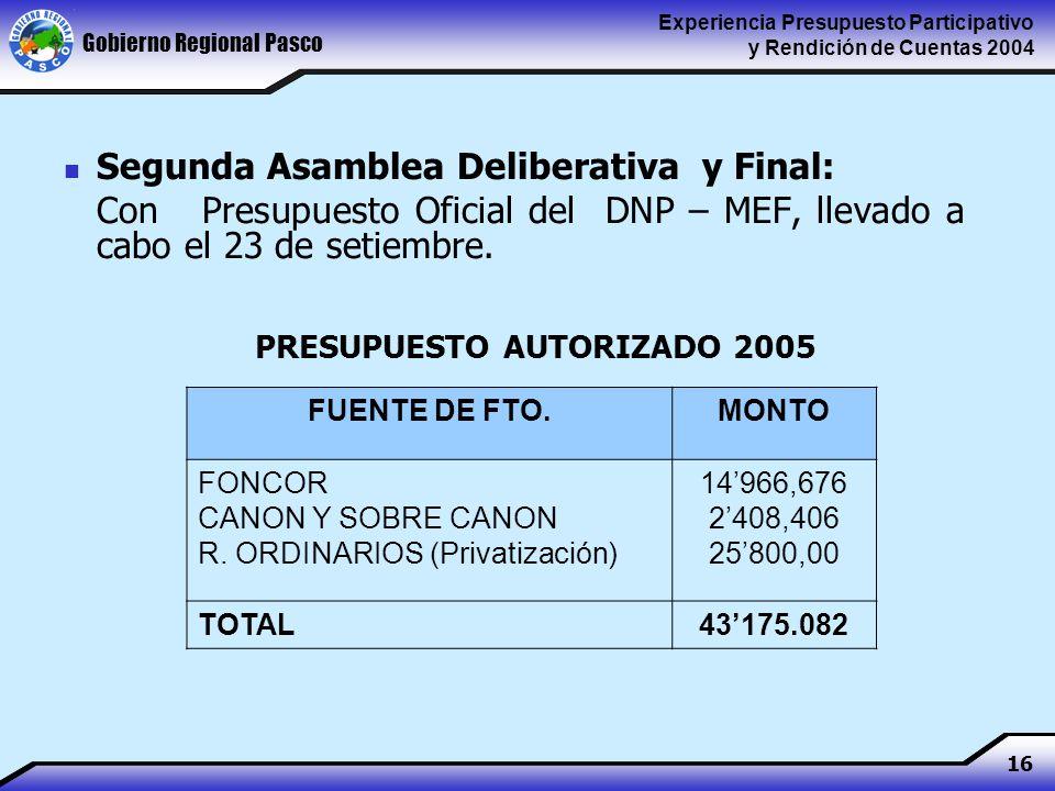 Gobierno Regional Pasco Experiencia Presupuesto Participativo y Rendición de Cuentas 2004 16 Segunda Asamblea Deliberativa y Final: Con Presupuesto Oficial del DNP – MEF, llevado a cabo el 23 de setiembre.