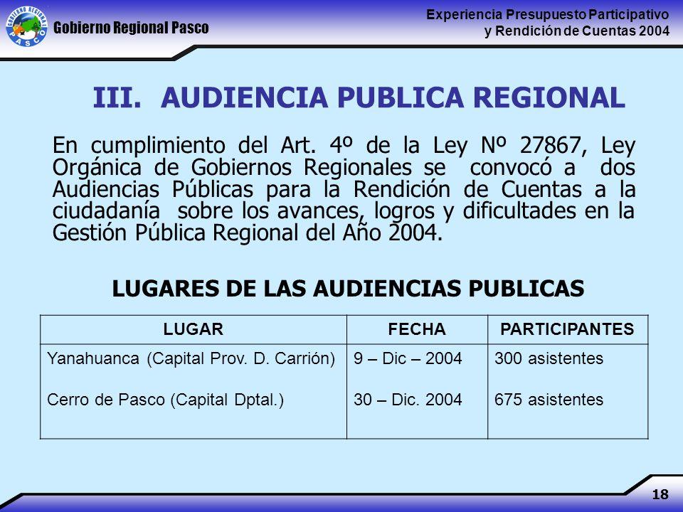 Gobierno Regional Pasco Experiencia Presupuesto Participativo y Rendición de Cuentas 2004 18 III.AUDIENCIA PUBLICA REGIONAL En cumplimiento del Art.