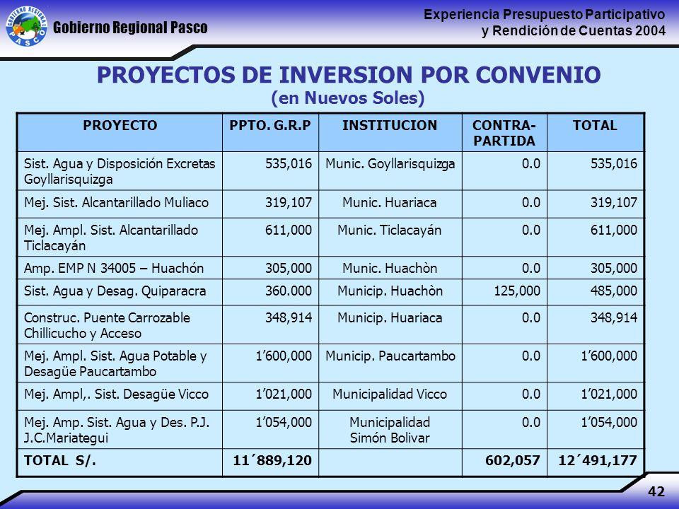Gobierno Regional Pasco Experiencia Presupuesto Participativo y Rendición de Cuentas 2004 42 PROYECTOPPTO.