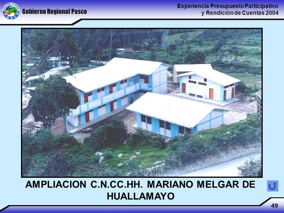 Gobierno Regional Pasco Experiencia Presupuesto Participativo y Rendición de Cuentas 2004 49 AMPLIACION C.N.CC.HH.