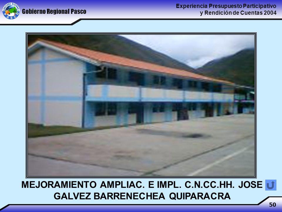 Gobierno Regional Pasco Experiencia Presupuesto Participativo y Rendición de Cuentas 2004 50 MEJORAMIENTO AMPLIAC.
