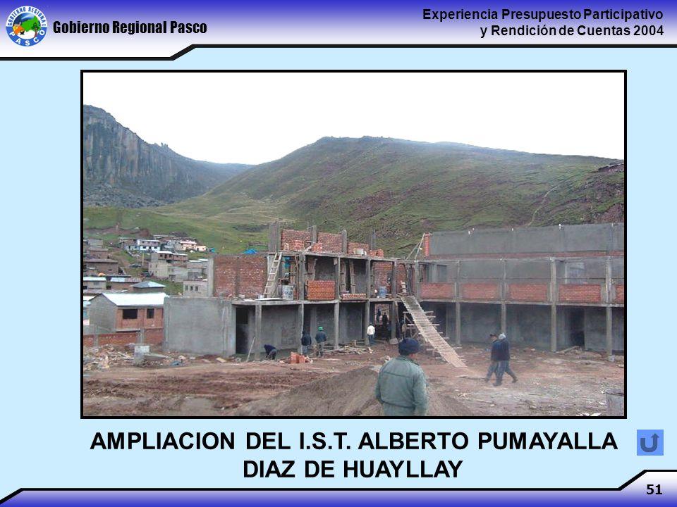 Gobierno Regional Pasco Experiencia Presupuesto Participativo y Rendición de Cuentas 2004 51 AMPLIACION DEL I.S.T.