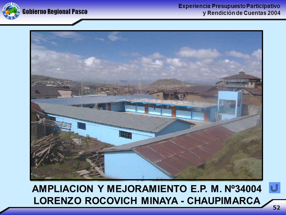 Gobierno Regional Pasco Experiencia Presupuesto Participativo y Rendición de Cuentas 2004 52 AMPLIACION Y MEJORAMIENTO E.P.