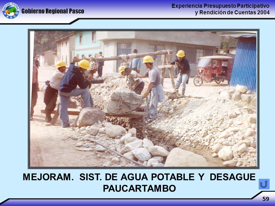 Gobierno Regional Pasco Experiencia Presupuesto Participativo y Rendición de Cuentas 2004 59 MEJORAM.