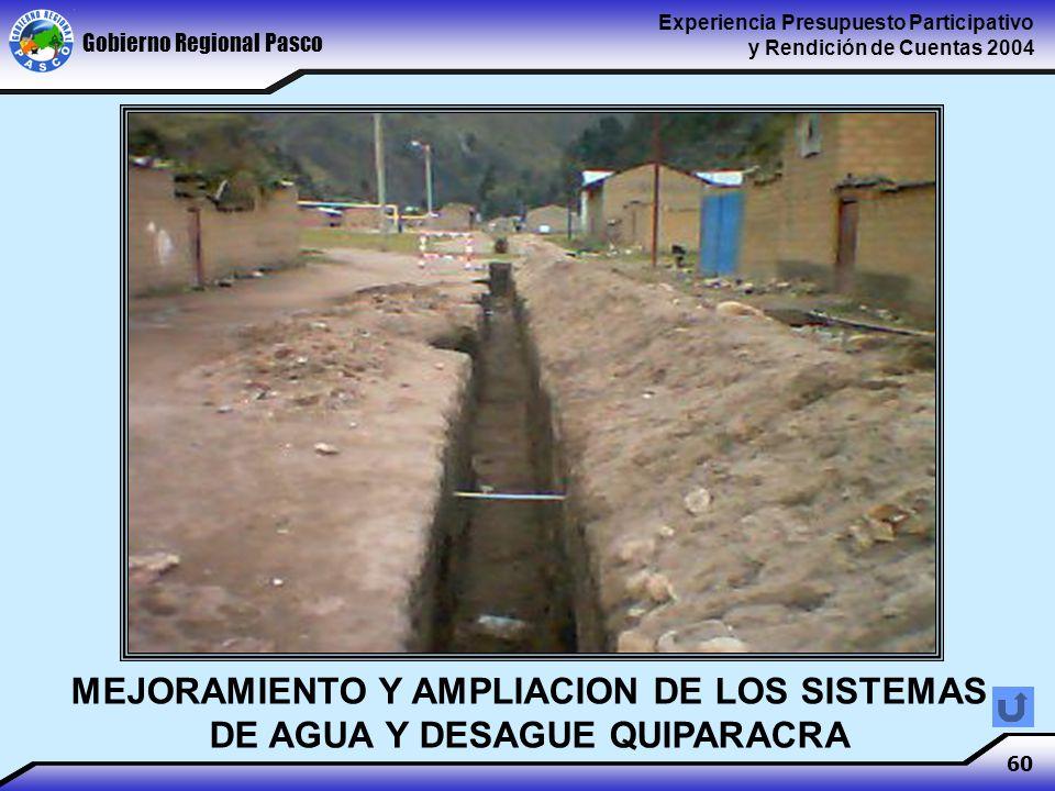 Gobierno Regional Pasco Experiencia Presupuesto Participativo y Rendición de Cuentas 2004 60 MEJORAMIENTO Y AMPLIACION DE LOS SISTEMAS DE AGUA Y DESAGUE QUIPARACRA