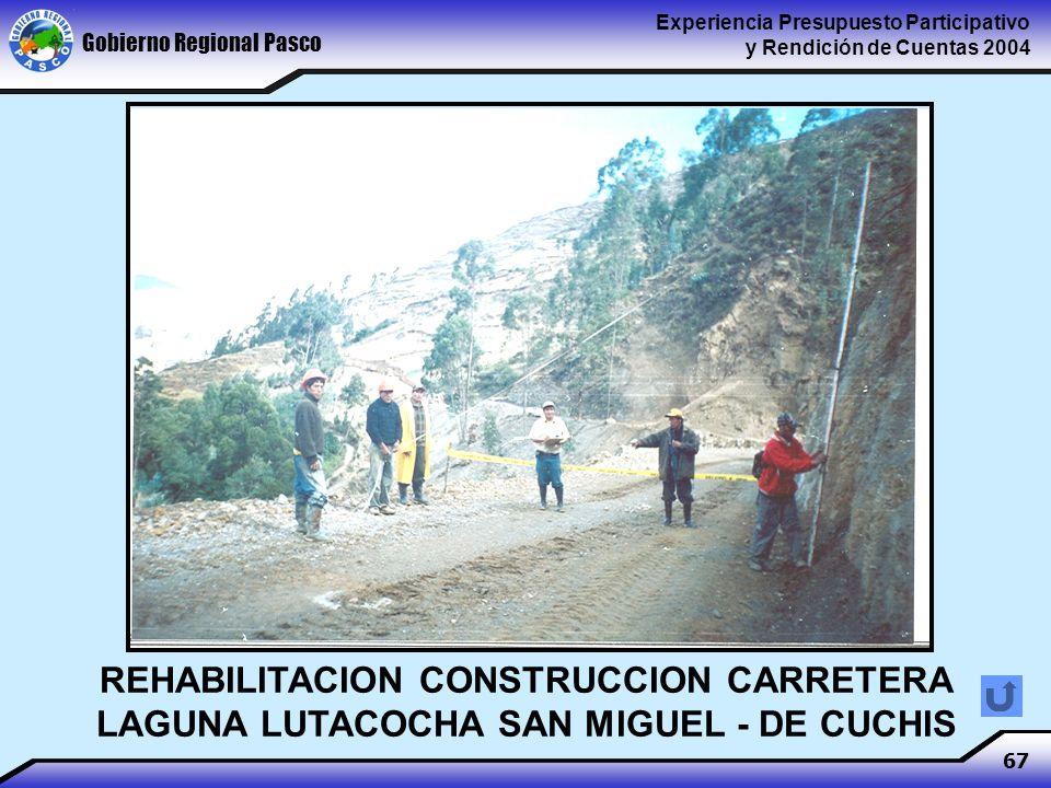 Gobierno Regional Pasco Experiencia Presupuesto Participativo y Rendición de Cuentas 2004 67 REHABILITACION CONSTRUCCION CARRETERA LAGUNA LUTACOCHA SAN MIGUEL - DE CUCHIS