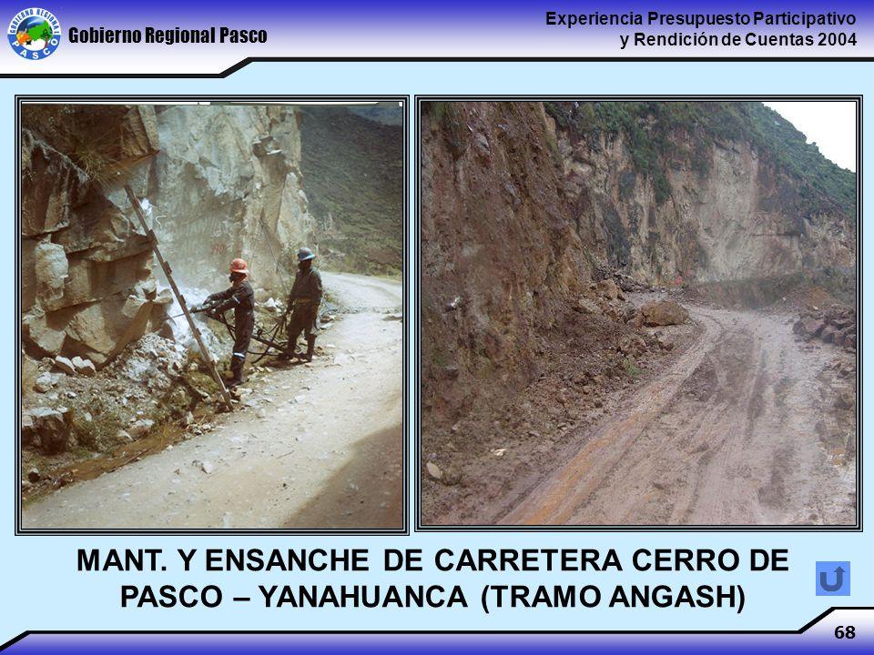 Gobierno Regional Pasco Experiencia Presupuesto Participativo y Rendición de Cuentas 2004 68 MANT.