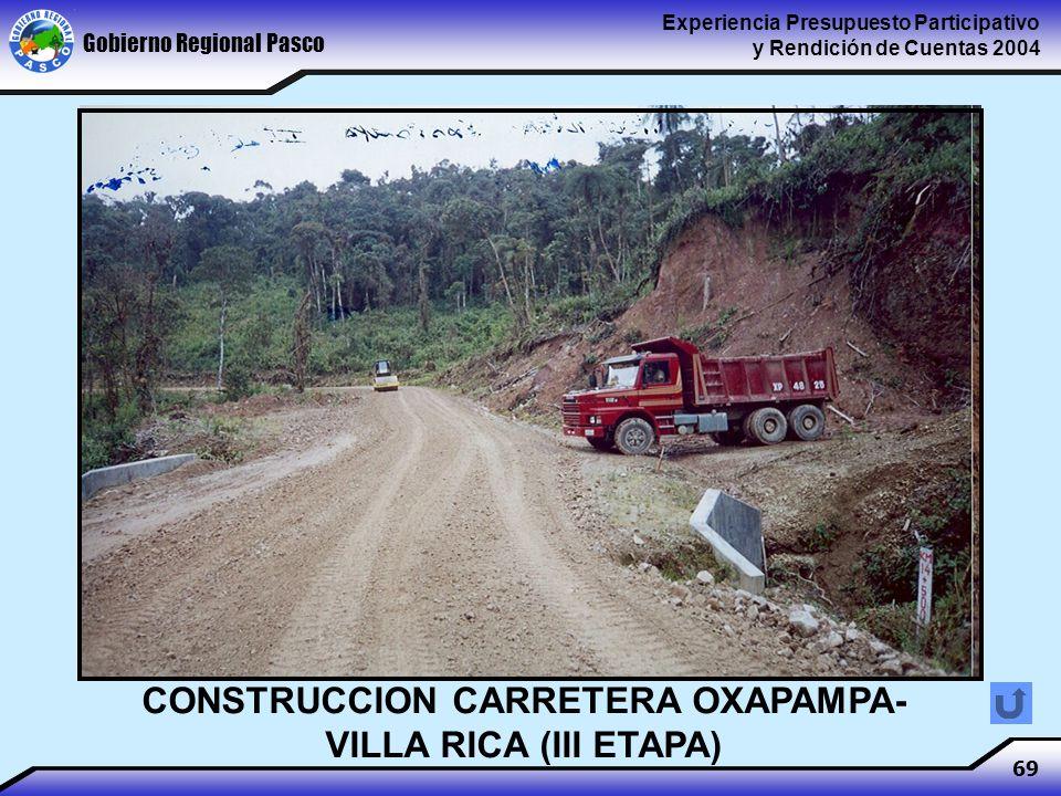 Gobierno Regional Pasco Experiencia Presupuesto Participativo y Rendición de Cuentas 2004 69 CONSTRUCCION CARRETERA OXAPAMPA- VILLA RICA (III ETAPA)