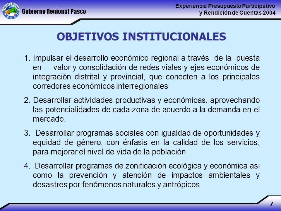Gobierno Regional Pasco Experiencia Presupuesto Participativo y Rendición de Cuentas 2004 7 1.