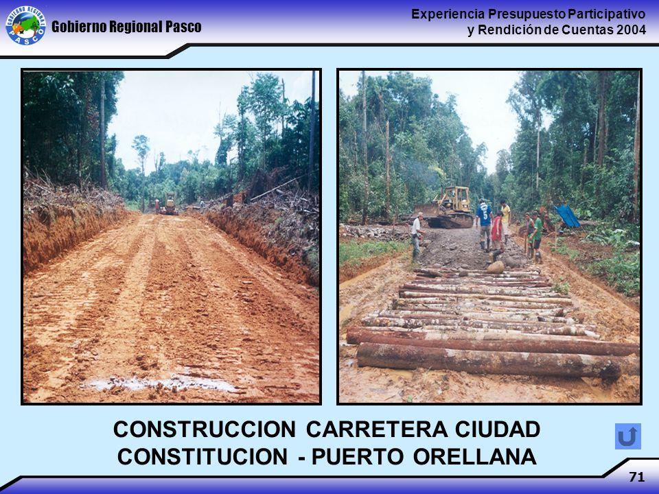 Gobierno Regional Pasco Experiencia Presupuesto Participativo y Rendición de Cuentas 2004 71 CONSTRUCCION CARRETERA CIUDAD CONSTITUCION - PUERTO ORELLANA