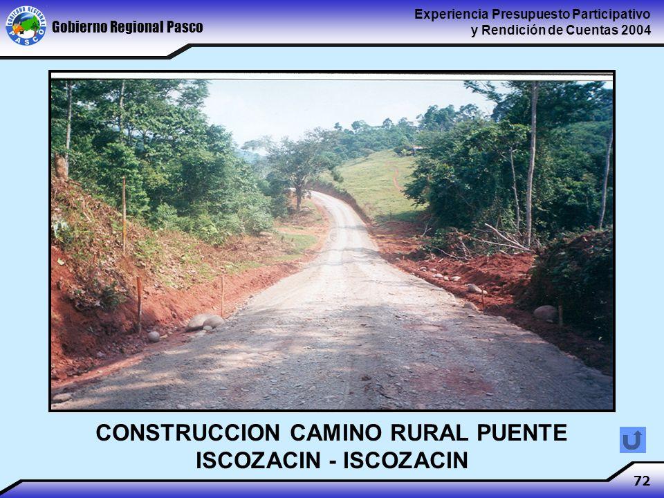 Gobierno Regional Pasco Experiencia Presupuesto Participativo y Rendición de Cuentas 2004 72 CONSTRUCCION CAMINO RURAL PUENTE ISCOZACIN - ISCOZACIN