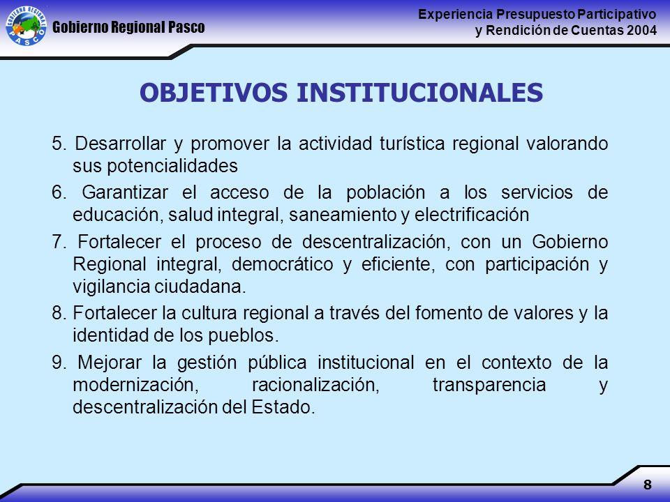 Gobierno Regional Pasco Experiencia Presupuesto Participativo y Rendición de Cuentas 2004 8 OBJETIVOS INSTITUCIONALES 5.