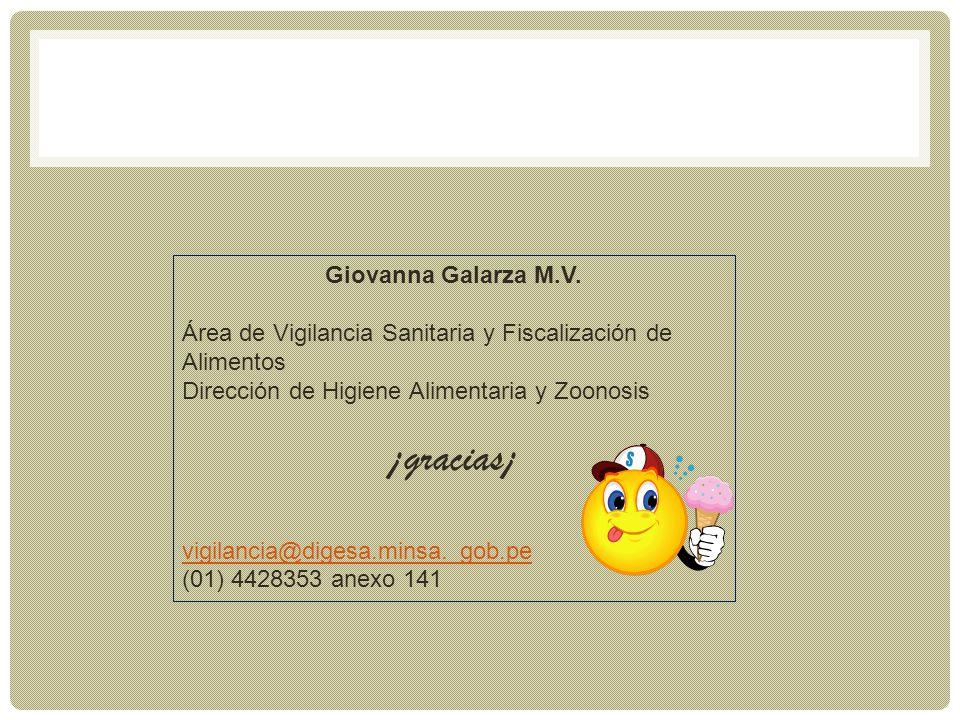 Giovanna Galarza M.V. Área de Vigilancia Sanitaria y Fiscalización de Alimentos Dirección de Higiene Alimentaria y Zoonosis ¡gracias¡ vigilancia@diges