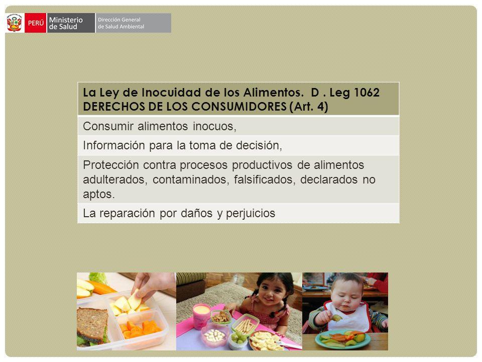 La Ley de Inocuidad de los Alimentos. D. Leg 1062 DERECHOS DE LOS CONSUMIDORES (Art. 4) Consumir alimentos inocuos, Información para la toma de decisi