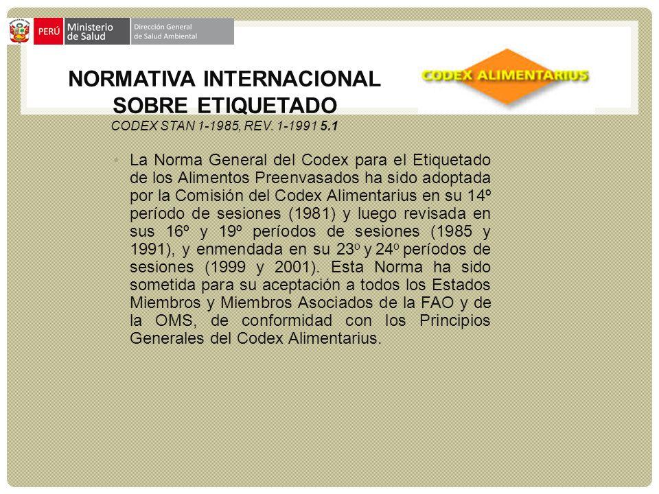 NORMATIVA INTERNACIONAL SOBRE ETIQUETADO CODEX STAN 1-1985, REV. 1-1991 5.1 La Norma General del Codex para el Etiquetado de los Alimentos Preenvasado