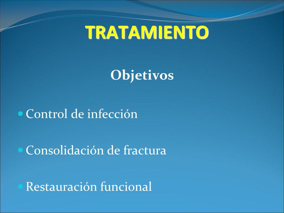 TRATAMIENTO Objetivos Control de infección Consolidación de fractura Restauración funcional