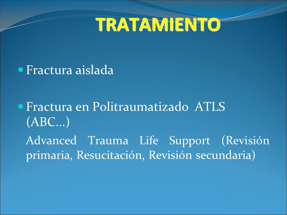 TRATAMIENTO Fractura aislada Fractura en Politraumatizado ATLS (ABC...) Advanced Trauma Life Support (Revisión primaria, Resucitación, Revisión secund