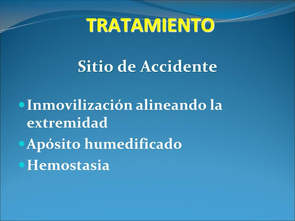 TRATAMIENTO Sitio de Accidente Inmovilización alineando la extremidad Apósito humedificado Hemostasia