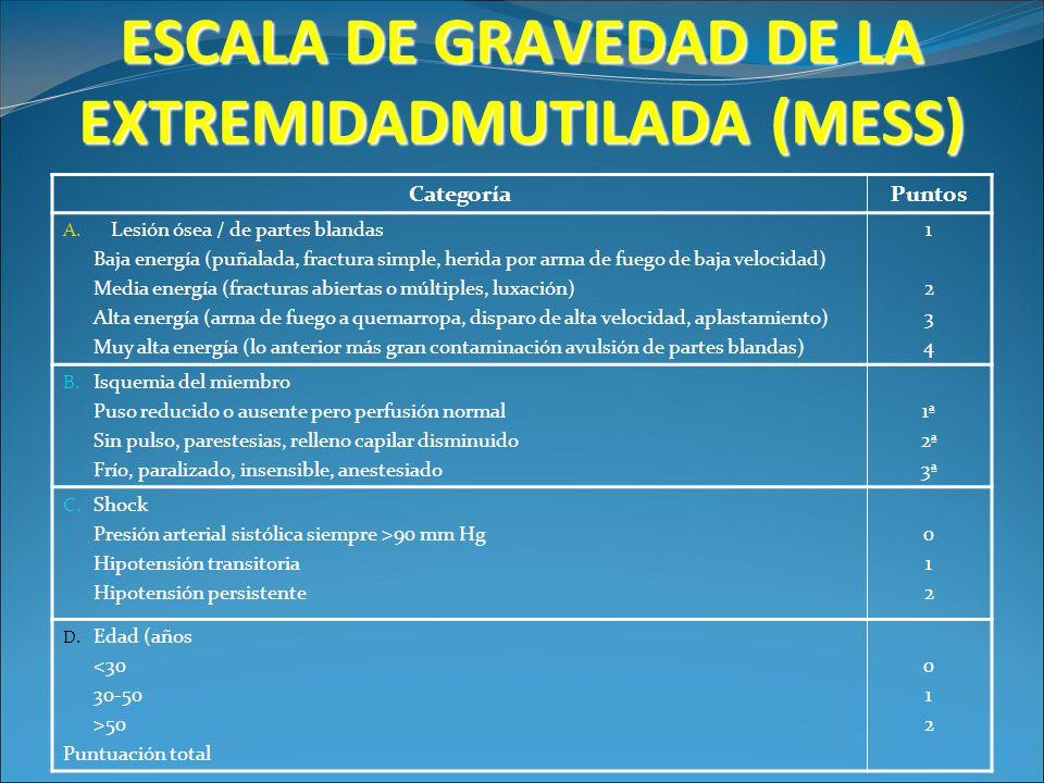 ESCALA DE GRAVEDAD DE LA EXTREMIDADMUTILADA (MESS) CategoríaPuntos A. Lesión ósea / de partes blandas Baja energía (puñalada, fractura simple, herida