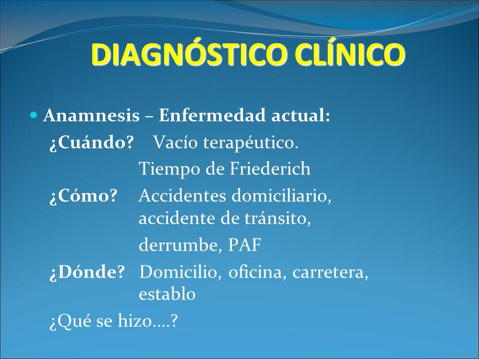 DIAGNÓSTICO CLÍNICO Anamnesis – Enfermedad actual: ¿Cuándo? Vacío terapéutico. Tiempo de Friederich ¿Cómo? Accidentes domiciliario, accidente de tráns