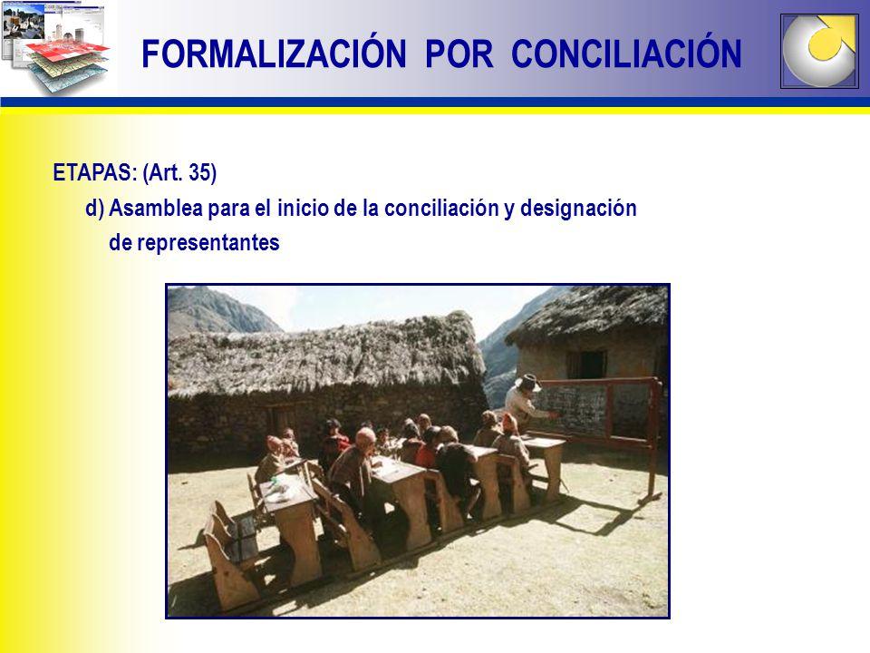 FORMALIZACIÓN POR CONCILIACIÓN ETAPAS: (Art. 35) d) Asamblea para el inicio de la conciliación y designación de representantes
