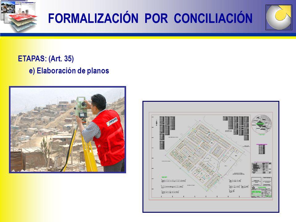 FORMALIZACIÓN POR CONCILIACIÓN ETAPAS: (Art. 35) e) Elaboración de planos